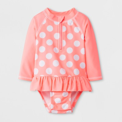 Baby Girls' Floral Polka Dot Half Zip One Piece Swimsuit - Cat & Jack™ Pink 6-9M