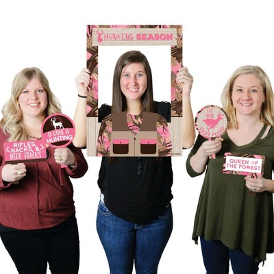 Big Dot of Happiness Pink Gone Hunting - Girl Camo Baby Shower or Birthday Party Selfie Photo Booth Picture Frame & Props - Printed on Sturdy Material