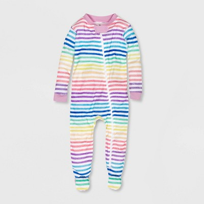 Honest Baby Girls' Striped Footed Pajama - 12M