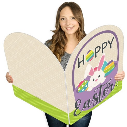 Big Dot of Happiness Hippity Hoppity - Happy Easter Giant Greeting Card - Big Shaped Jumborific Card - 16.5 x 22 inches - image 1 of 4