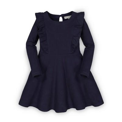 Hope & Henry Girls' Long Sleeve Knit Pinafore Ruffle Dress, Infant