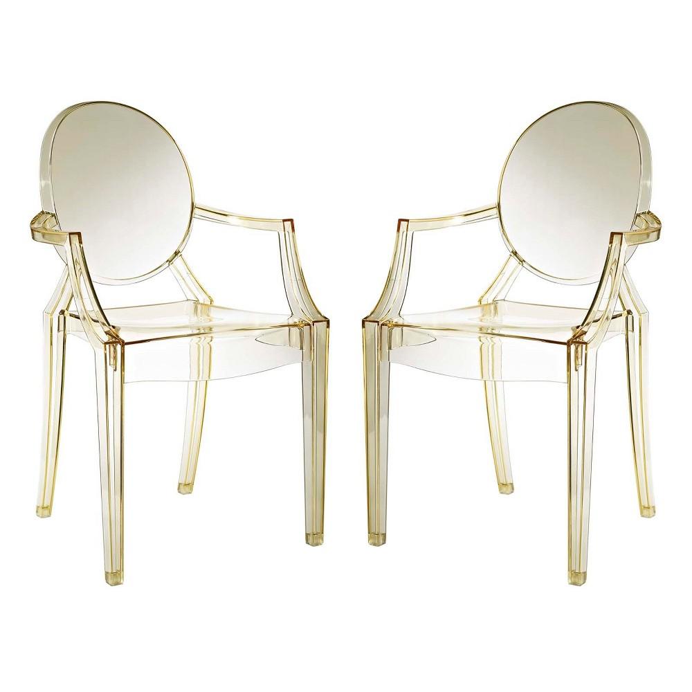 Casper Dining Armchairs Set of 2 Yellow - Modway
