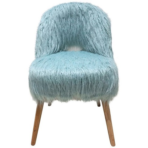 Groovy Faux Fur Accent Chair In Blue Jeco Machost Co Dining Chair Design Ideas Machostcouk