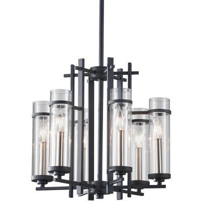 """Feiss Ethan 6-Light 18"""" Antique Forged Iron/Brushed Steel 1-Tier Chandelier F2631/6AF/BS"""