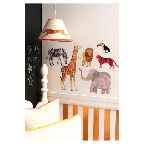 wild animal big wall peel & stick wall decal multicolor 7 piece