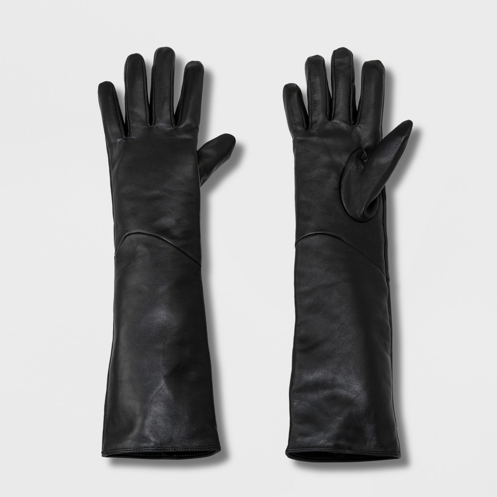 Vintage Style Gloves- Long, Wrist, Evening, Day, Leather, Lace Womens Long Leather Gloves - A New Day Black ML $34.99 AT vintagedancer.com