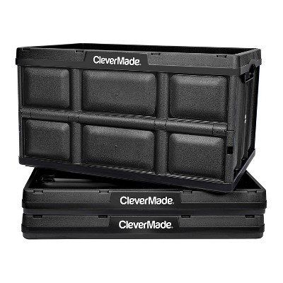 CleverMade Durable Plastic Stackable Organization 62L Collapsible Storage Bins, Black (3-Pack)