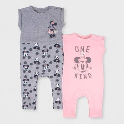 Baby Girls' Disney Mickey Mouse & Friends Minnie Mouse 2pk Short Sleeve Romper Set - Pink/Gray 0-3M
