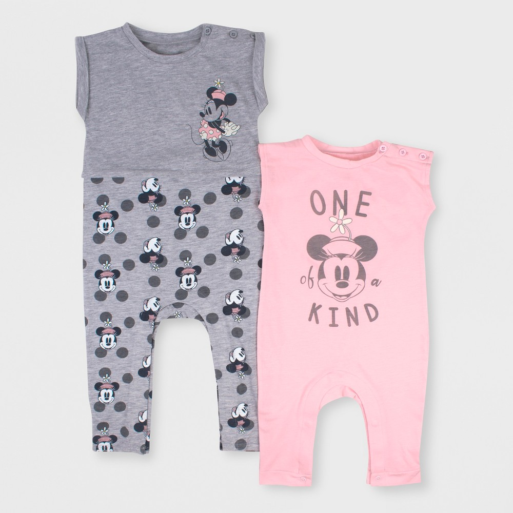 Baby Girls' Disney Mickey Mouse & Friends Minnie Mouse 2pk Short Sleeve Romper Set - Pink/Gray 18M, Multicolored