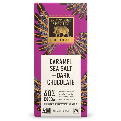 Endangered Species Chocolate Dark Chocolate Sea Salt & Caramel - 3oz