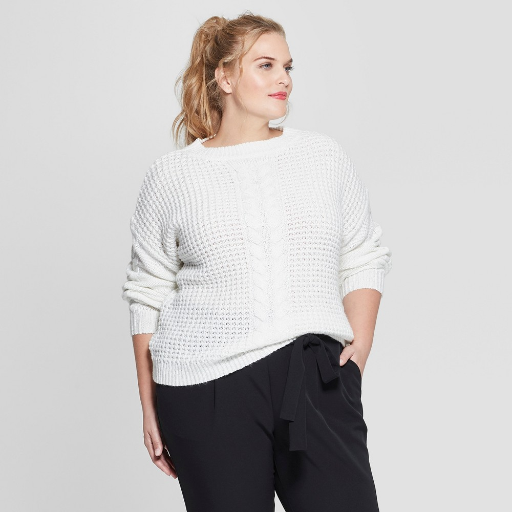 Plus Size Women's Plus Long Sleeve Placed Cable Pullover Sweater - Ava & Viv Cream (Ivory) 2X