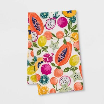 "28"" x 18"" Cotton Fruit Flat Weave Kitchen Towel Pink/White - Opalhouse™"