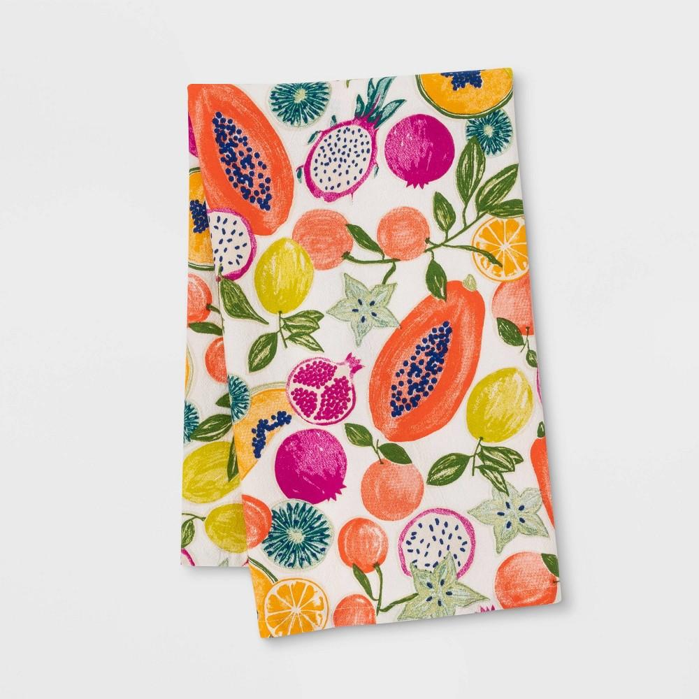 "Image of ""28"""" x 18"""" Cotton Fruit Flat Weave Kitchen Towel Pink/White - Opalhouse"""