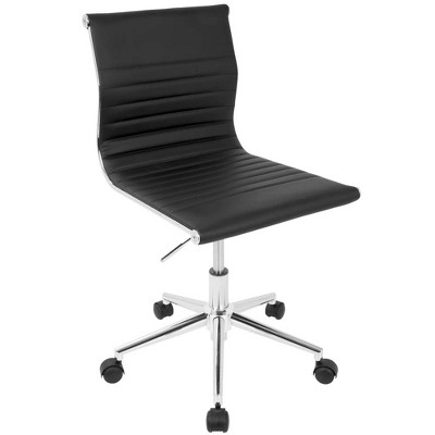 Masters Industrial Task Chair in Black Base and Black Faux Leather - LumiSource
