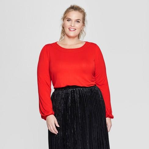 0ea579c483c Women s Plus Size Long Sleeve Knit Top - Ava   Viv™   Target