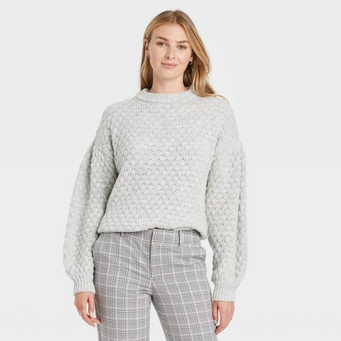 Women's Crewneck Textured Pullover Sweater - A New Day™ - image 1 of 3