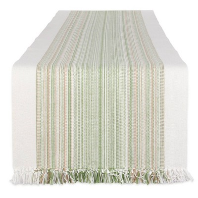 """72"""" x 14"""" Cotton Striped Fringe Table Runner Green - Design Imports"""