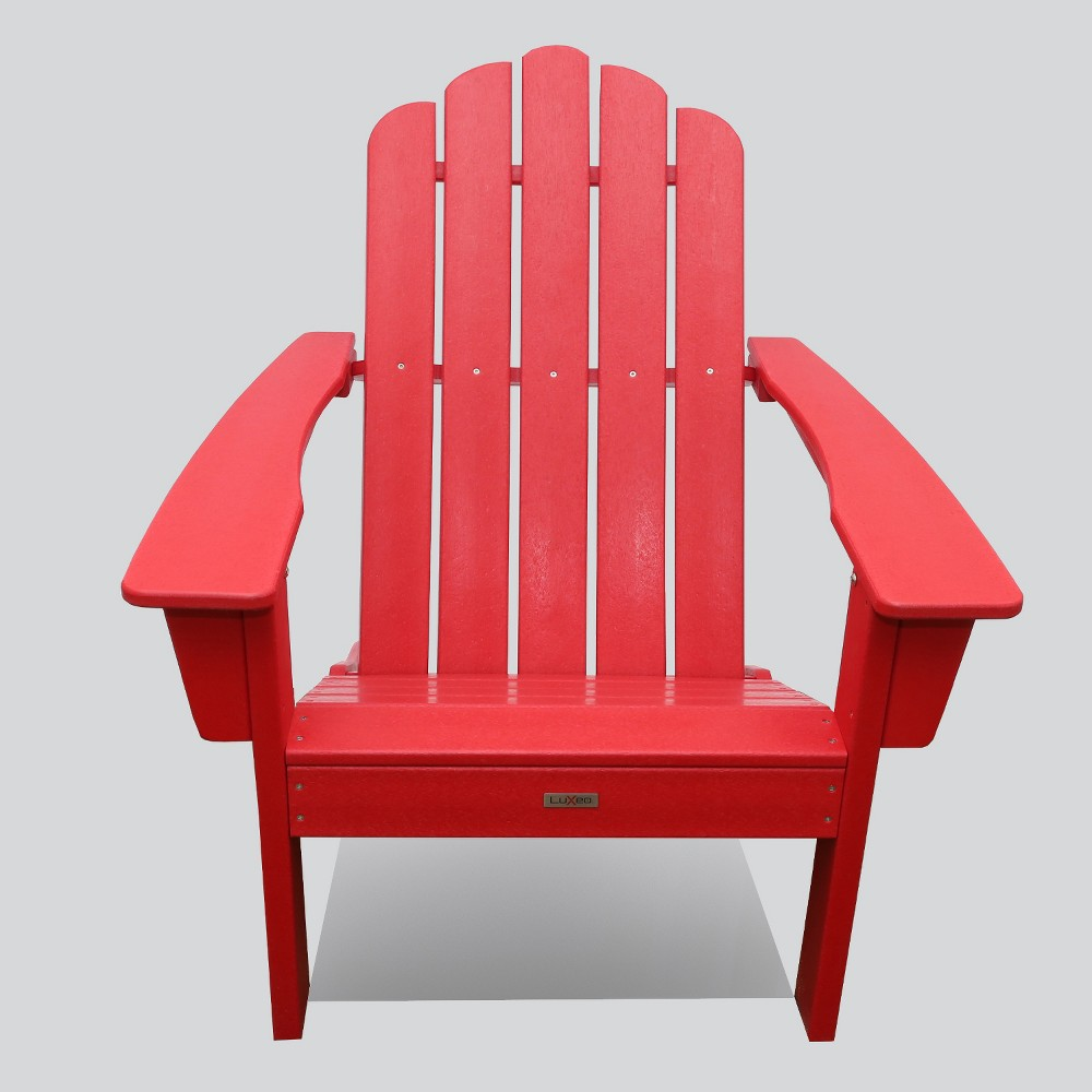 Image of Marina Outdoor Patio Adirondack Chair Red - LuXeo