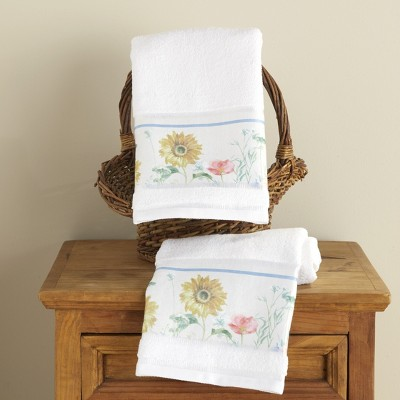 Lakeside Farm Fresh Flowers Bathroom or Kitchen Hand Towels - Set of 2