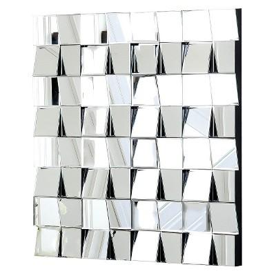 Audrina Square Decorative Wall Mirror Silver - Abbyson Living