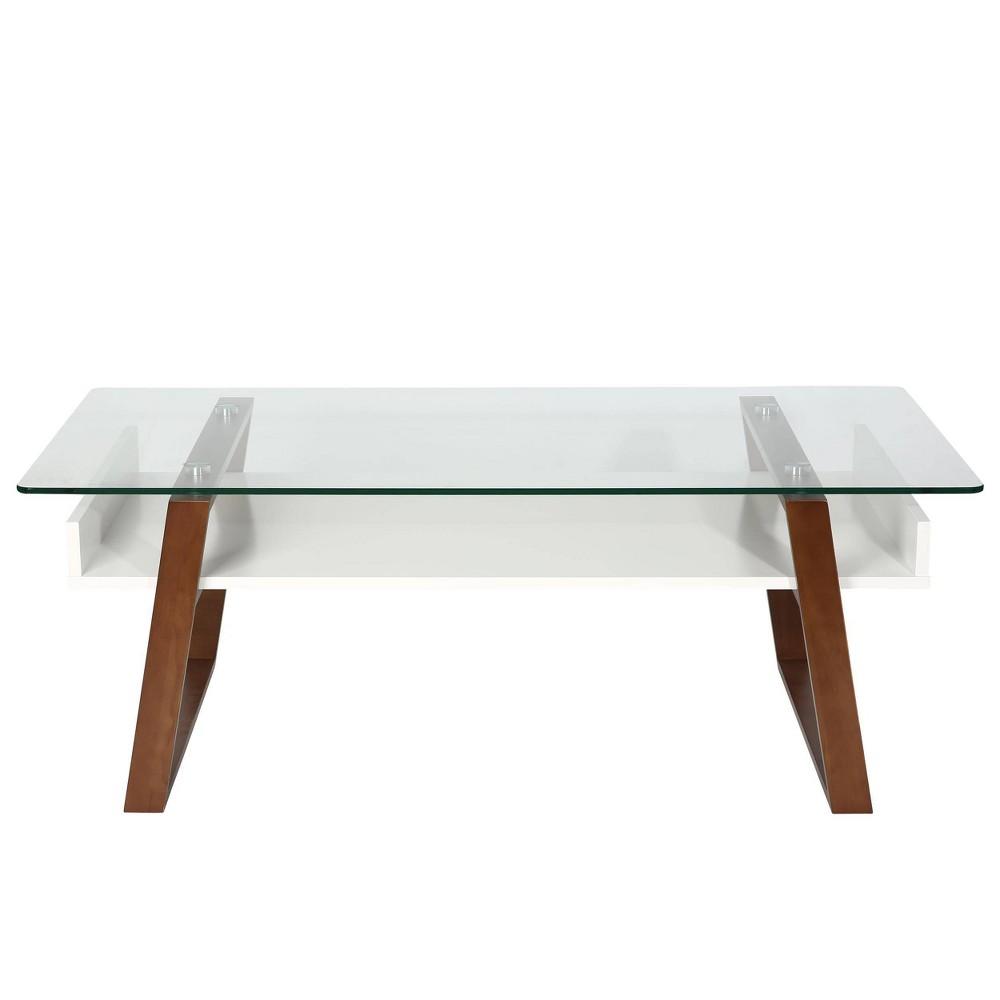 Image of Corona Mid Century Glass Top Coffee Table Walnut - Edgemod
