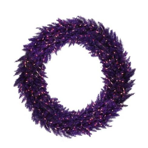 "Vickerman 48"" Prelit Ashley Spruce Christmas Wreath - Clear/Purple Lights - image 1 of 2"