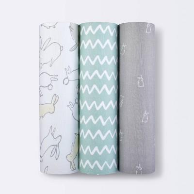 Muslin Swaddle Blankets Bunny 3pk - Cloud Island™