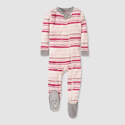Burt's Bees Baby® Baby Girls' Stripped Organic Cotton Footed Sleepers   Pink/White by Pink/White