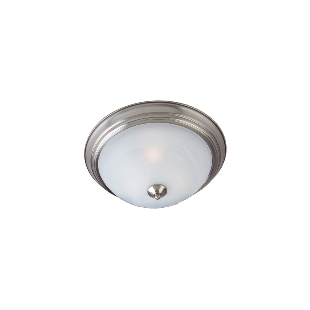 Casual Lighting 3-Bulb Flush Mount with Marbleized Glass - Satin Nickel, Light Silver