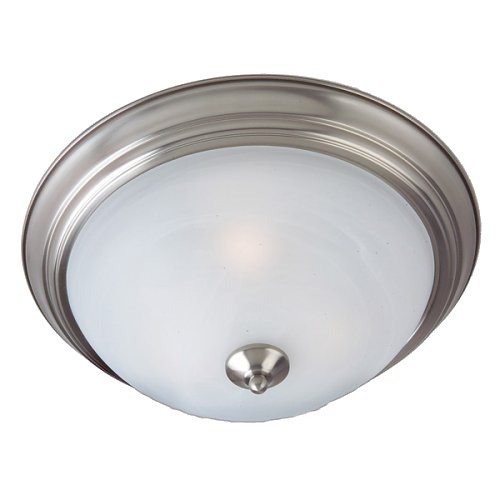 Casual Lighting 3-Bulb Flush Mount with Marbleized Glass - Satin Nickel