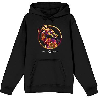 Mens Mortal Kombat Dragon Logo Fire Black Hooded Sweatshirt