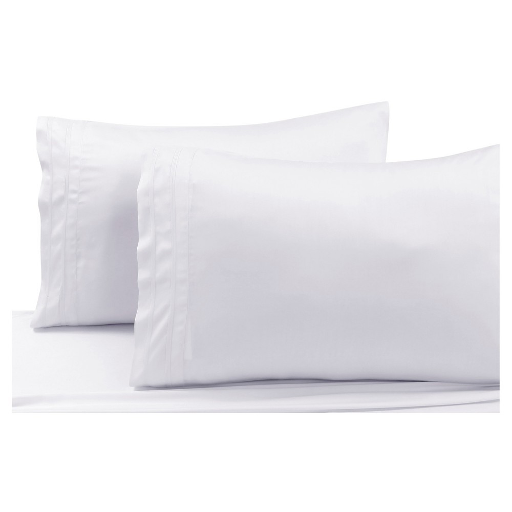 Rayon from Bamboo Solid Pillowcase Pair (Standard) White 300 Thread Count - Tribeca Living