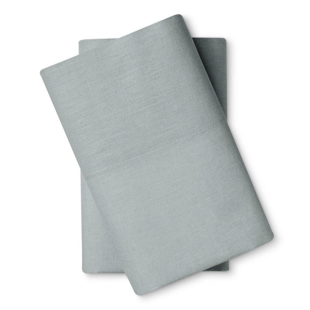 Image of Washed Linen Pillowcase 2-pc Set (Standard) Light Blue - Loft New York