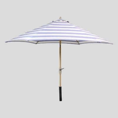 9' Round Cabana Stripe Patio Umbrella Navy - Black Pole - Threshold™