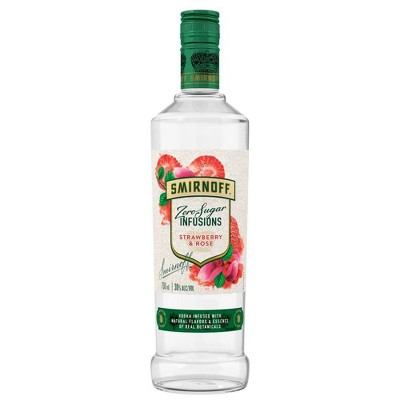 Smirnoff Zero Sugar Infusions Strawberry Rose Vodka - 750ml Bottle