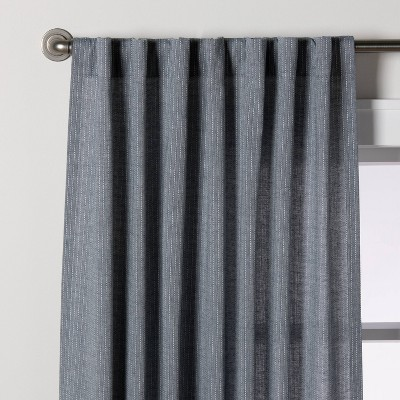 Chambray Stripe Curtain Panel Faded Blue - Hearth & Hand™ with Magnolia