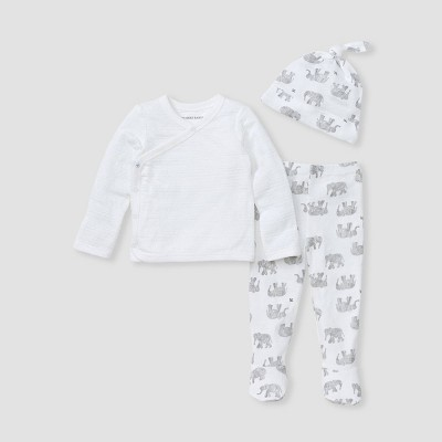 Burt's Bees Baby® Baby 3pc Wandering Elephants Take Me Home Top and Bottom Set - White