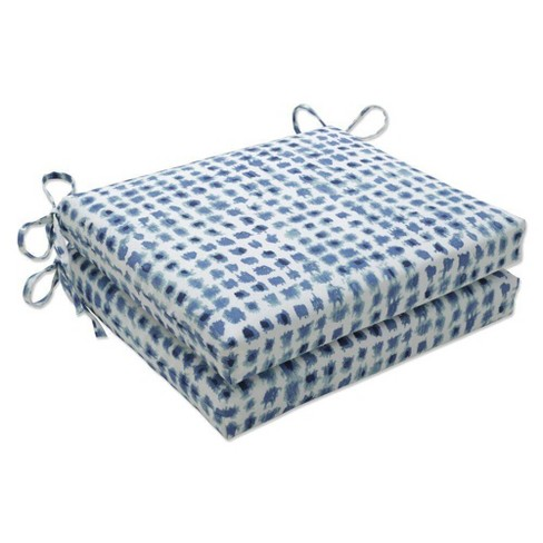 2pk Outdoor/Indoor Squared Chair Pad Alauda Porcelain Blue - Pillow Perfect - image 1 of 1