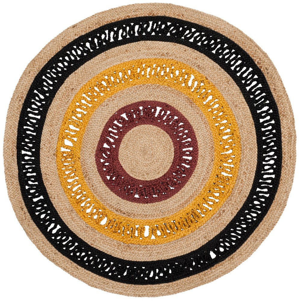 6' Solid Woven Round Area Rug Black/Natural - Safavieh