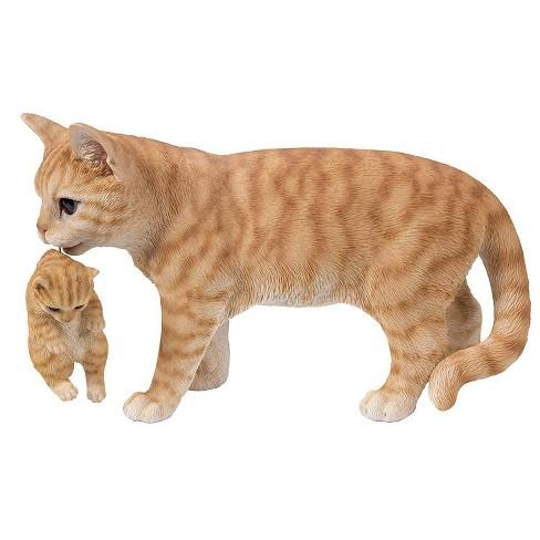 "10"" Polyresin Tabby Mother Cat Carrying Kitten Statue Orange - Hi-Line Gift - image 1 of 1"