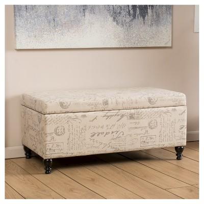 Superbe Luke Fabric Storage Ottoman Bench Beige   Christopher Knight Home