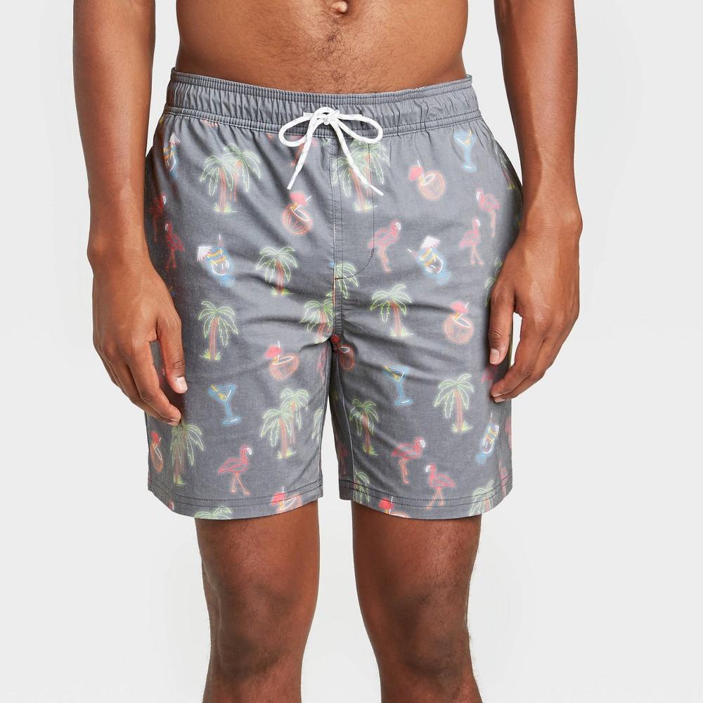Men 39 S 7 34 Tiki Drinks Swim Trunks Goodfellow 38 Co 8482 Gray 2xl