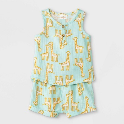 Baby Boys' 2pc Giraffe Gauze Henley Top & Bottom Set - Cat & Jack™ Green