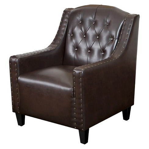 Gabriel Tufted Bonded Leather Club Chair Brown - Christopher Knight Home - image 1 of 4
