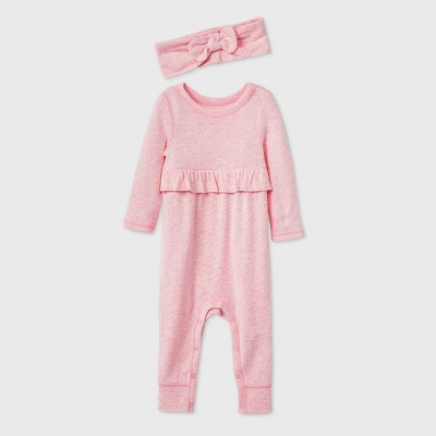 Baby Girls' Cozy Romper with Headband - Cat & Jack™ Pink 0-3M
