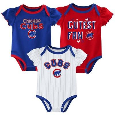 MLB Chicago Cubs Baby Girls' 3pk Bodysuit Set