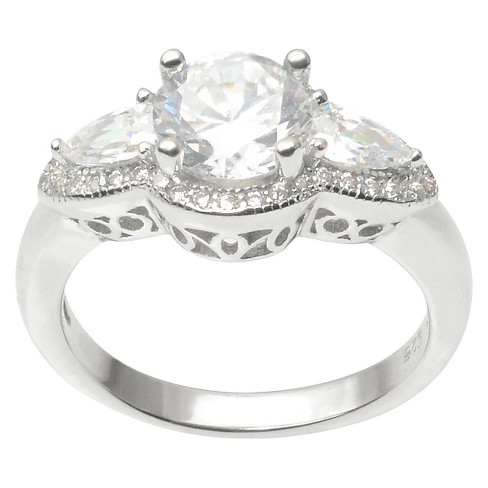 2 1/6 CT. T.W. Round Cut CZ Basket Set Intricate Under-Bridge Ring in Sterling Silver - Silver - image 1 of 3