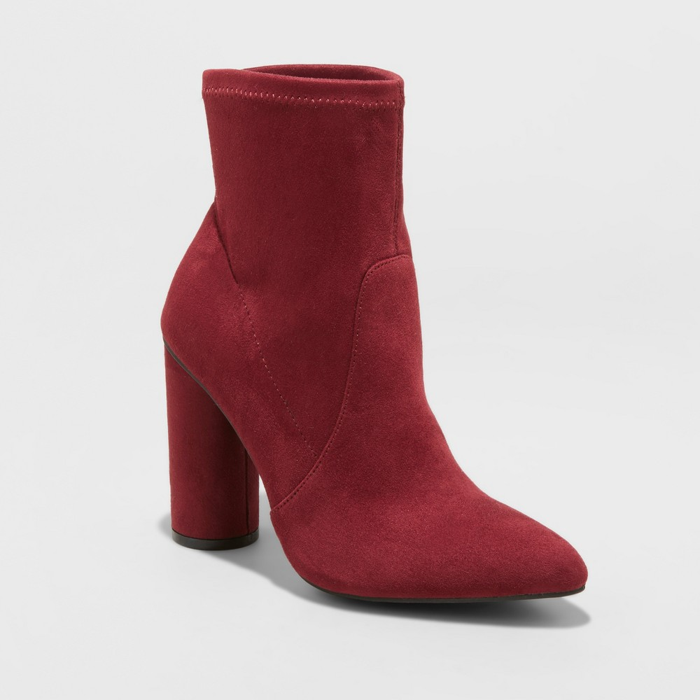 Women's Norma Microsuede Cylinder Heeled Bootie - A New Day Burgundy (Red) 10