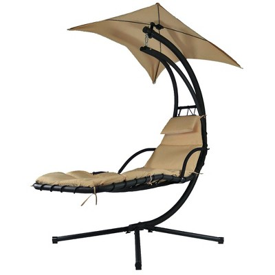 Floating Chaise Lounge Chair with Canopy Umbrella - Beige - Sunnydaze Decor