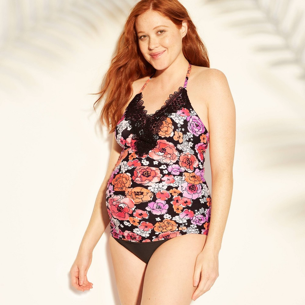 313a0bd362d615 Maternity Floral Print High Neck Tankini Top Sea Angel Pink XL Womens Pink  Gold